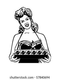 Cigarette Lady - Retro Clip Art