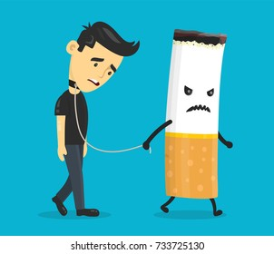 Cigarette leads to a chain of a young man. Smoking slave, nicotine, cigarette addiction.Vector flat cartoon character illustration icon design. Isolated on blue background.
