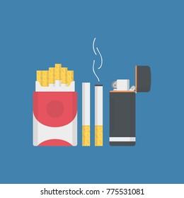 Cigarette pack with pocket lighter and burnt cigarettes vector illustration
