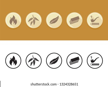 Cigarette Rolling Papers Icon Set, Tobacco Optimized, Slow Burning, Ultrathin, Arabic Gum, Ultralight Icons Vector Elements
