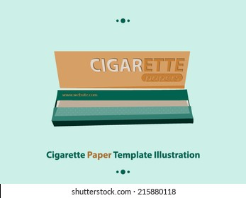 Cigarette rolling papers pack vector template illustration