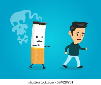 Cigarette runs over man guy. Stop smoking concept. Cigarette kills. Vector flat cartoon character illustration. quit, cigarett, teeth, no smoking,anti cancer