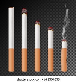 Cigarette Set Vector. Realistic Cigarette Butt. Different Stages Of Burn. Isolated Illustration. Burning Classic Smoking Cigarette On Transparent Background.