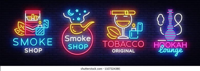 Cigarette Shop Logo collection Neon Vector. Smoke shop neon signs, Hookah lounge, vector design template vector illustration on tobacco theme, bright night cigarette advertisement. Vector