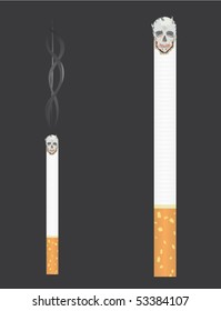 Cigarette with skull and smoke