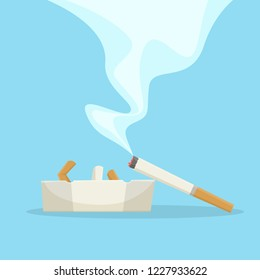 Cigarette with smoke lying on the ashtray. Banner for stop smoking. Bad habit and unhealthy lifestyle. Isolated flat vector illustration