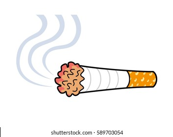 Cigarette with smoke vector icon isolated.