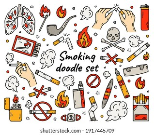 Cigarette smoking vector set in doodle style, hand drawing. The concept of bad habits with tobacco, lighters and vape.