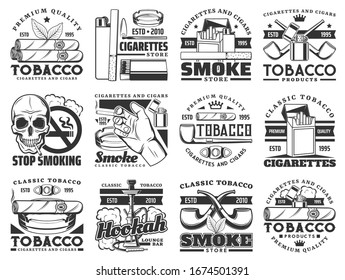 Cigarette, tobacco leaf and smoke cigar vector icons. Cigarette packs, ashtray and smoking pipe, hookah, lighter and smoker hand, skull, nicotine filter, match box and cigar cutter, emblems design
