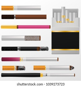 Cigarette vector cigar with nicotine in cigarette-box or cigar-case and smoking tobacco illustration set of cigarette-ends isolated on white background