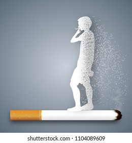 Cigarettes destroy health and life of human as craft style and paper art concept. vector illustration