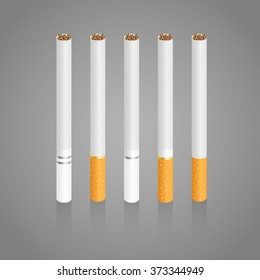 Cigarettes. Five different realistic cigarettes with slight shadow in vector illustration.