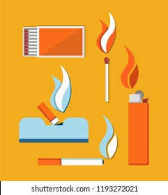 Cigarettes matches and cigar lighter vector card, illustration isolated on yellow background, flames icons collection, trash bucket with falling stub