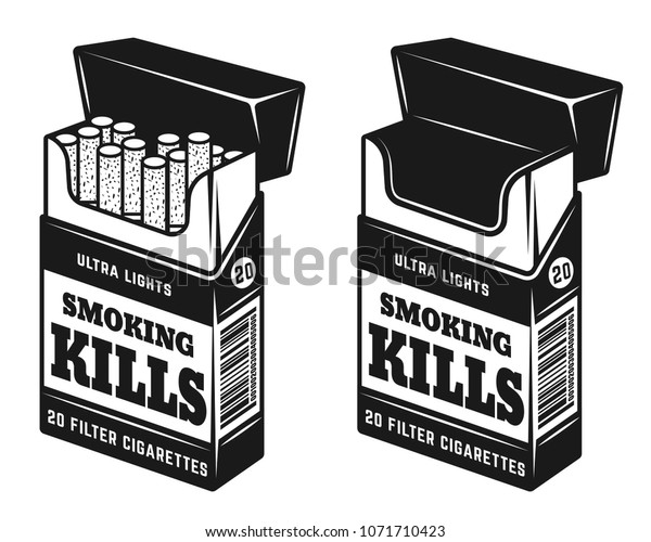 Cigarettes Open Pack Warning Inscription Smoking Stock