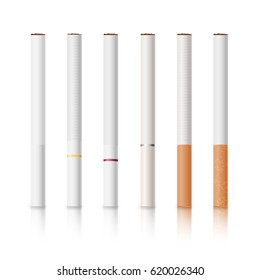 Cigarettes Set With White And Yellow Filters Isolated Vector Illustration