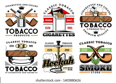 Cigars, cigarettes and premium quality tobacco factory or company labels. Vector icons of smoking pipes store, hookah and shisha lounge bar sign, vintage cigar cutter and lighter with ashtray