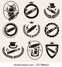 Cigars label and icons set. Vector