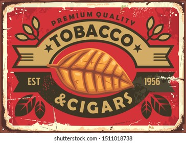 Cigars and tobacco vintage tin sign with dried tobacco leaf on red background. Cigars retro poster. Vector cigars illustration.