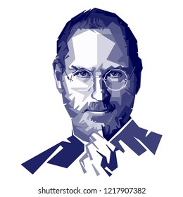 Cilacap Indonesia, Okt 2018: vector isolated portrait stylized illustration Steven Jobs American entrepreneur business magnate inventor industrial chairman chief executive officer co-founder