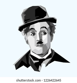 Cilacap Indonesia, Okt 2018: vector isolated stylized illustration face head Charles Chaplin English legendary comic actor filmmaker composer who rose to fame in the era of silent film