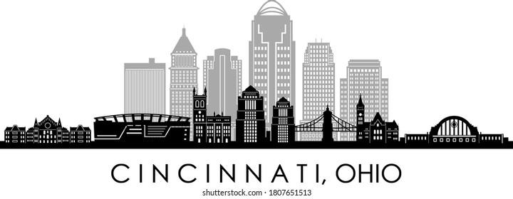 CINCINNATI City OHIO Skyline Silhouette Cityscape Vector
