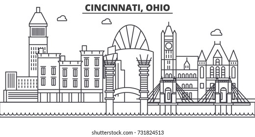 Cincinnati, Ohio architecture line skyline illustration. Linear vector cityscape with famous landmarks, city sights, design icons. Landscape wtih editable strokes