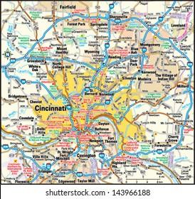 Cincinnati, Ohio area map