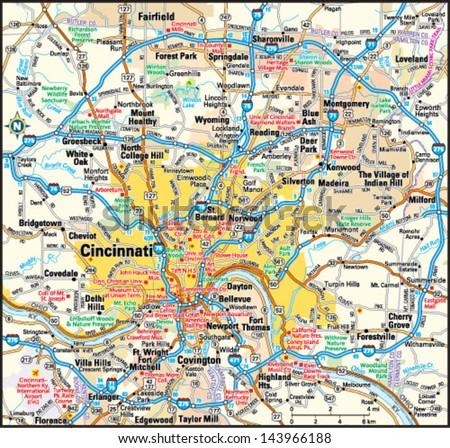 Cincinnati Ohio Area Map Stock-Vrgrafik (Lizenzfrei) 143966188 ... on