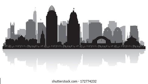 Cincinnati Ohio city skyline vector silhouette illustration