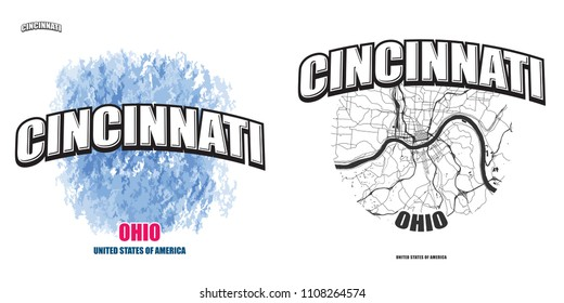 Cincinnati, Ohio, logo design. Two in one vector arts. Big logo with vintage letters with nice colored background and one-color-version with map for every possible print production.