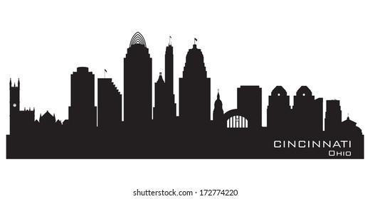 Cincinnati Ohio skyline Detailed vector silhouette