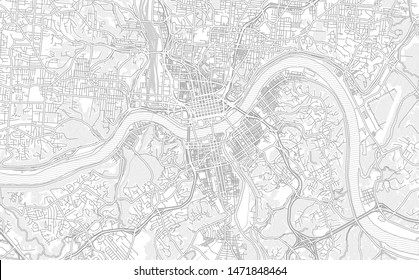 Cincinnati, Ohio, USA, bright outlined vector map with bigger and minor roads and steets created for infographic backgrounds.