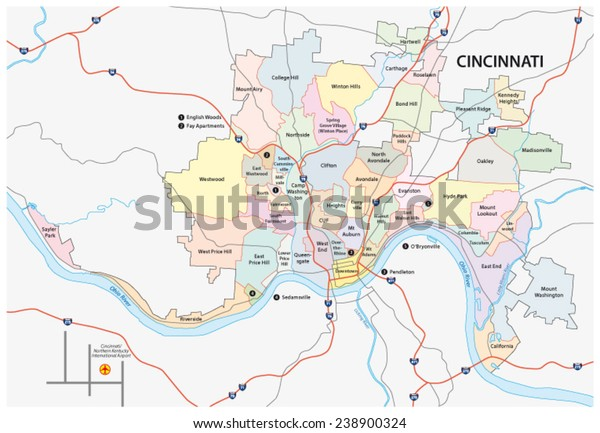 Cincinnati Neighborhood Map on