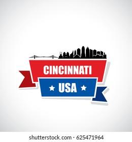 Cincinnati skyline - ribbon banner - Ohio - vector illustration