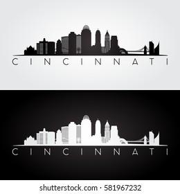 Cincinnati USA skyline and landmarks silhouette, black and white design, vector illustration.