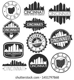 Cincinnati USA Skyline Vector Art Stamps. Silhouette Emblematic Buildings.