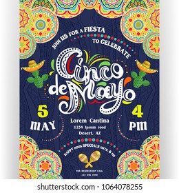 Cinco De Mayo announcing poster template. Text customized for invitation for fiesta party. Ornate lettering, sombreros and cactuses. Mexican style ornamented border. Vector illustration.