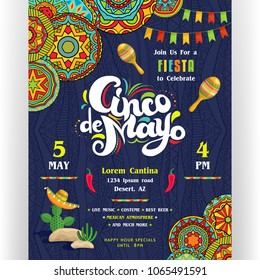 Cinco De Mayo announcing poster template. Text customized for invitation for fiesta party. Creative lettering, maracas, cactus in sombrero. Mexican style ornaments for background. Vector illustration.