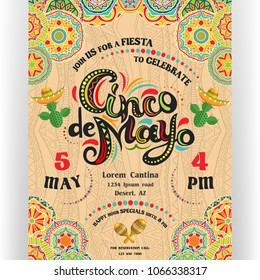 Cinco De Mayo announcing poster template. Text customized for invitation for fiesta party. Ornate lettering and cactuses in sombrero. Mexican style rich ornamented background. Vector illustration.