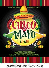 Cinco De Mayo background template for celebration of the Mexican holiday on the fifth (Cinco) of May (Mayo). EPS 10 vector.
