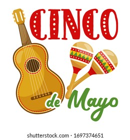 Cinco de mayo badge, mexican traditional fiesta. Mexican musical instrument  - guitar and maracas. Vector