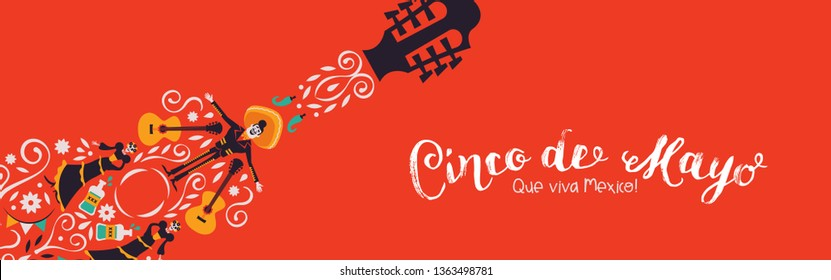 Cinco de Mayo banner illustration for Mexican independence celebration. Guitar shape made of mexico culture decoration. Includes mariachi, hot pepper, and skeleton woman.