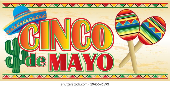 Cinco de Mayo Banner with Maracas and Sombrero
