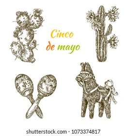 Cinco de mayo. Beautiful set elements. Cactus with flowers, pinata - donkey and maracas. Engraving style. Vector illustration.