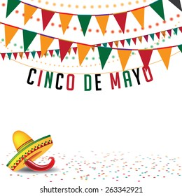 Cinco De Mayo bunting background EPS 10 vector royalty free stock illustration for greeting card, ad, promotion, poster, flier, blog, article, social media, marketing