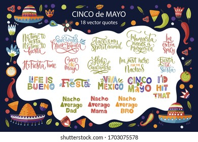 Cinco de Mayo calligraphy vector set. Fiesta typography festive lettering greeting collection. Quote and illustration for card, poster and tshirt print.