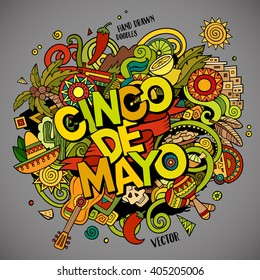 Cinco de Mayo. Cartoon vector hand drawn Doodle illustration. Colorful detailed design background with objects and symbols. All objects are separated
