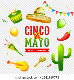 Cinco De Mayo celebration banner or poster design on png background with music instrument, sombrero hat and red chilli. mexican fiesta party.