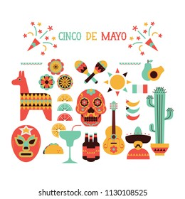 Cinco de mayo celebration clipart vector icon set