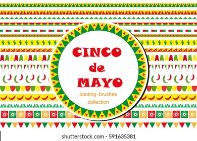 Cinco de Mayo celebration set of borders, ornaments, bunting. Flat style, isolated on white background. Vector illustration, clip art